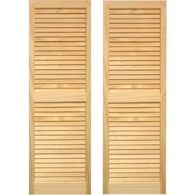 Pinecroft 2-Pack Unfinished Louvered Wood Exterior Shutters