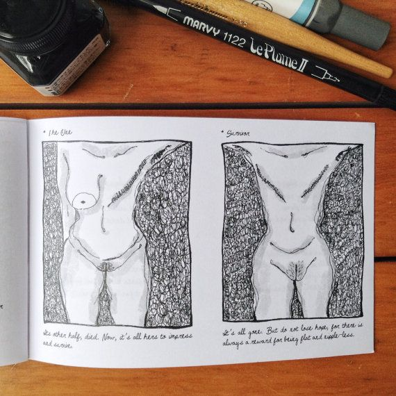 Boobies (Elle Ominoreg) is a blend of 28 pages of writing, poetry, and illustrations; all drawn in scribbling style to show the various sizes, fats, perks, and sags of unique pair of breast.  This pocket zine showcases the beauty of womens boobies: from simply flat, not-so-A or B, big or saggy as cucumbers, up to the saddest aftermath of cancer.