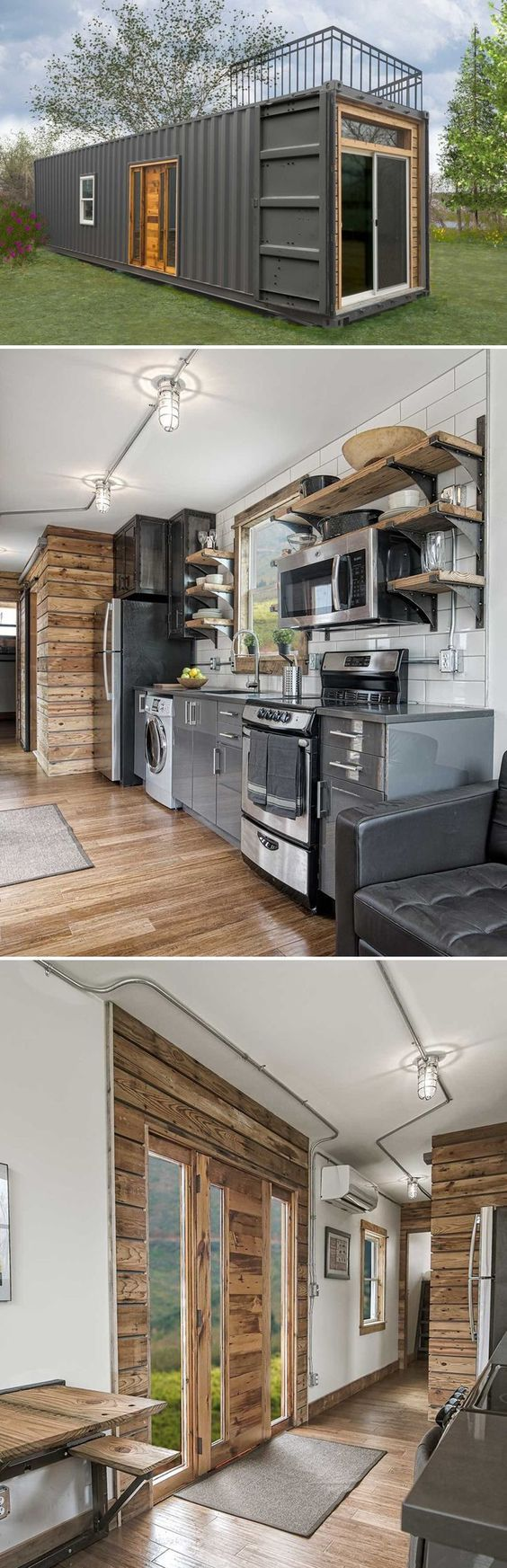 Milford, MI-based Minimalist Homes built the Freedom shipping container house using a minimalist industrial theme to reduce its impact on the environment.