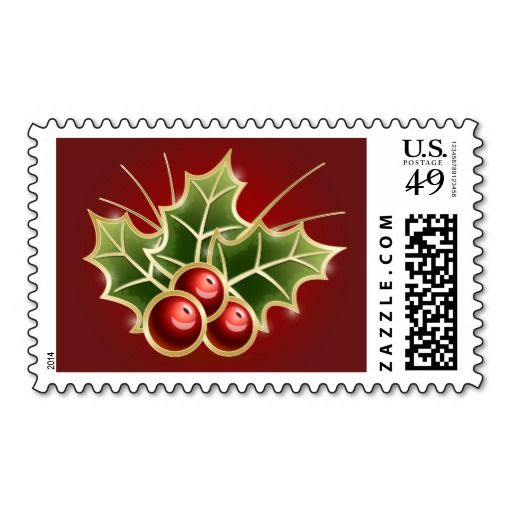 Shining Holly Berry Christmas illustration Stamp