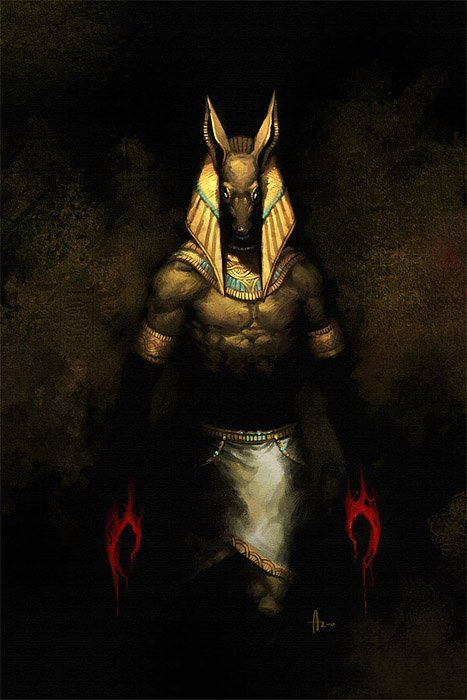 Anubis - God of Embalming head of jackal    Anubis invented embalming to embalm Osiris, the first mummy. He was the guide of the dead. The E...