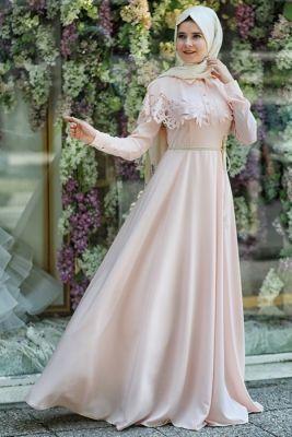Hilal Baş Pudra Erguvan Elbise