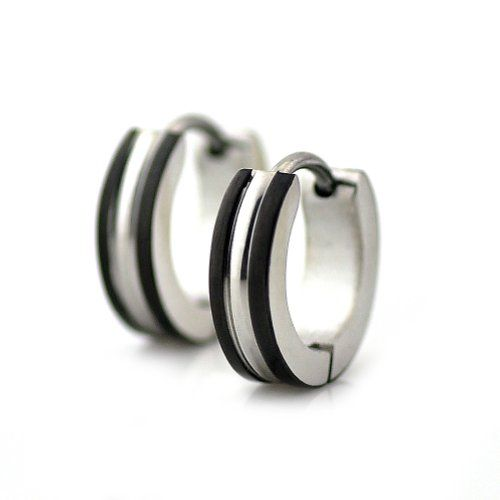 Pensee Jewelry Stainless Steel Mens Huggie Hoop Stud Earrings ,Silver-tone with Black Edge ,Sold As a Pair PenSee http://www.amazon.com/dp/B00B7XHO1M/ref=cm_sw_r_pi_dp_RVDsub1VY5ZHS
