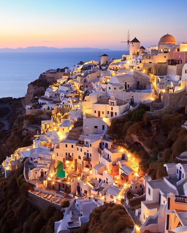 Art Sunset, Oia, Santorini island, Greece vacation
