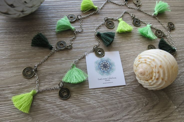 Tassel Necklace Long Lime Green Tiny Tassels Coins Chain Bronze Hawaiian Beach Party Beach Wear by SeaCircusCollections on Etsy