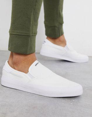 adidas Originals 3MC slip on sneakers in white   White slip on ...