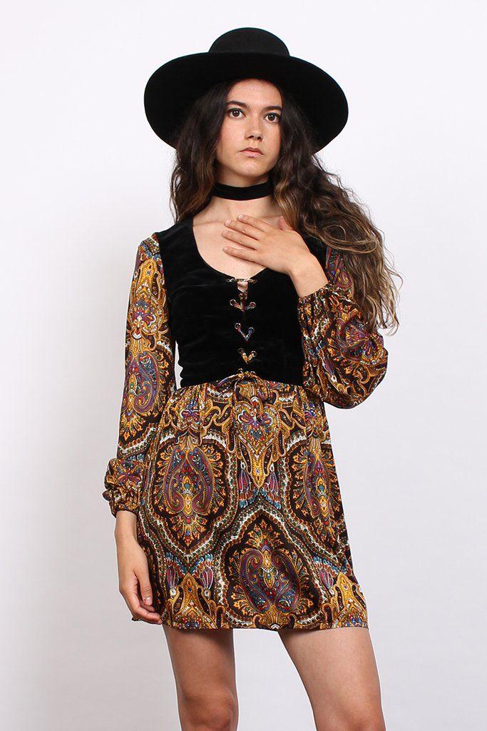 Vintage 70s Black Velvet Paisley Psychedelic Lace Up Mini Dress