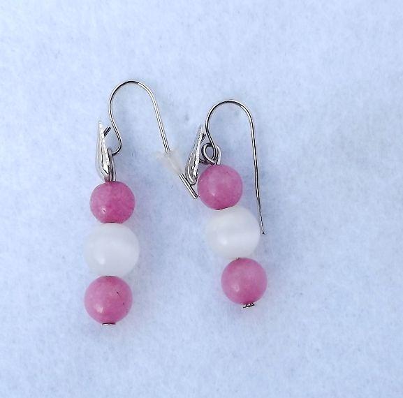 pink jade earrings/pink jáde és macskaszem fülbevalók