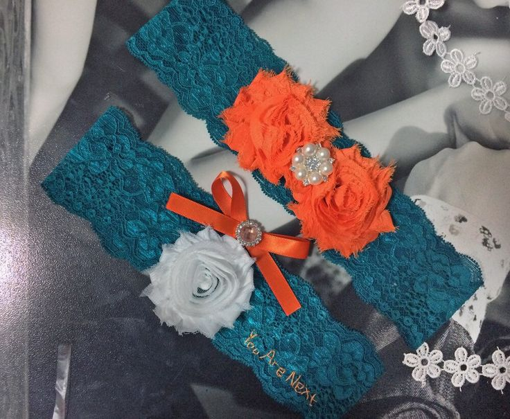 "teal and autumn orange wedding garter, teal orange and white for fall wedding color combination, Embroidered ""you are next"""
