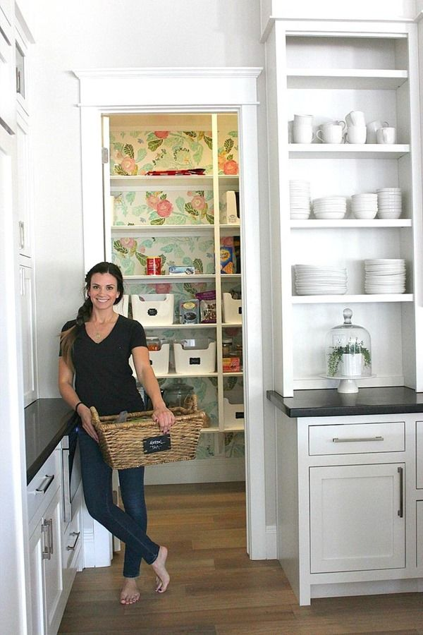 white, wallpaper, pantry