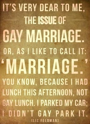 """""""It's very dear to me, the issue of gay marriage. Or as I like to call it: 'Marriage.' You know, because I had lunch this afternoon, not gay lunch. I parked my car; I didn't gay park it."""" -Liz Feldman: Gay Marriage, Quotes, Truth, So True, Gay Park, Thought, Things"""
