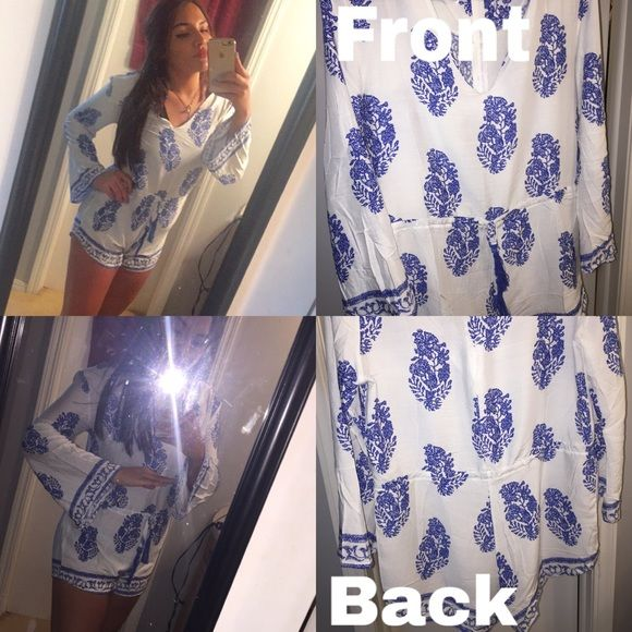 Junior Romper Blue and White print. Size large but seems to fit as a small/medium! Dresses