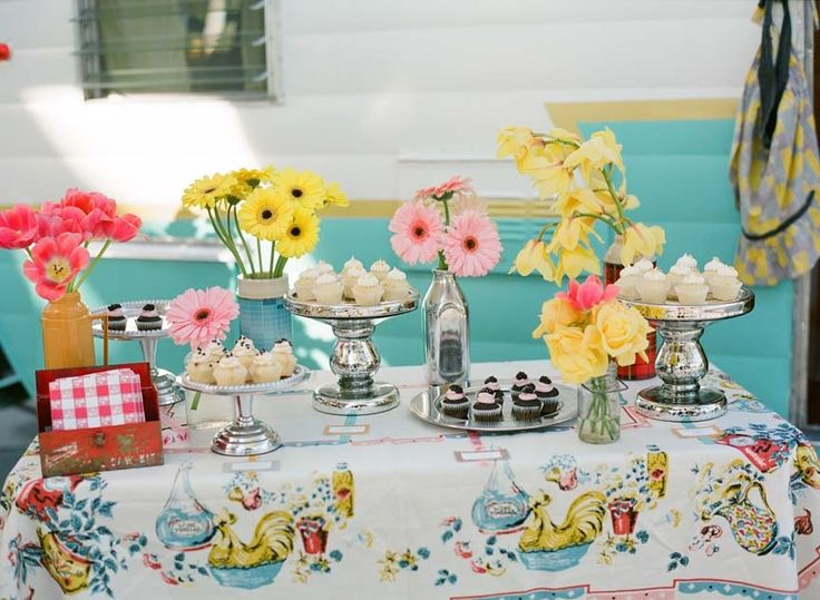 super cute retro sweets table