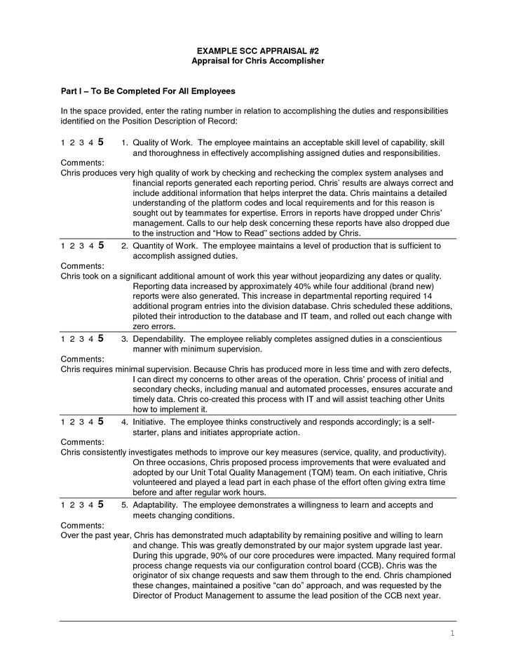 sample employee evaluation written by manager - Google Search