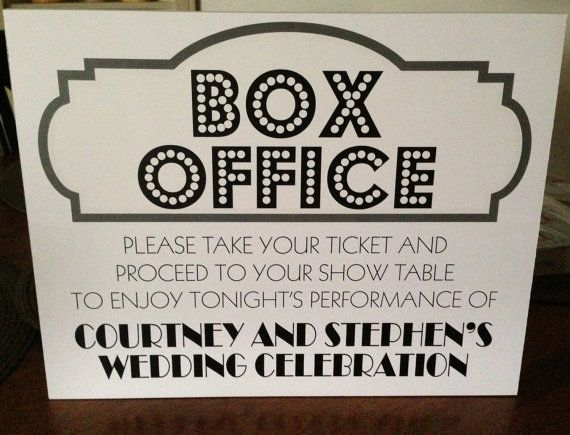 Broadway Show Theater Wedding  ticket BOX OFFICE sign