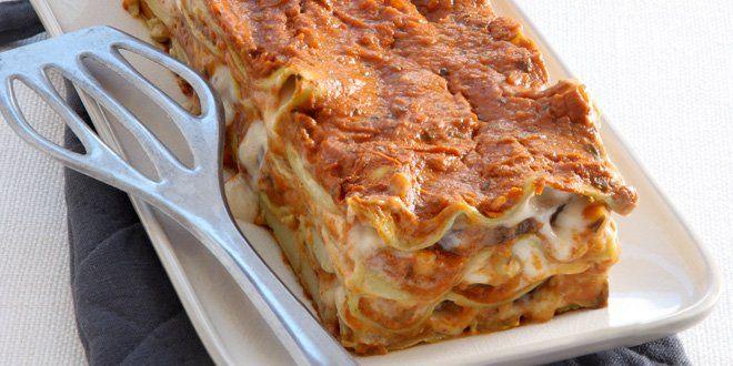 Lasagne van aubergine met vierkazensaus