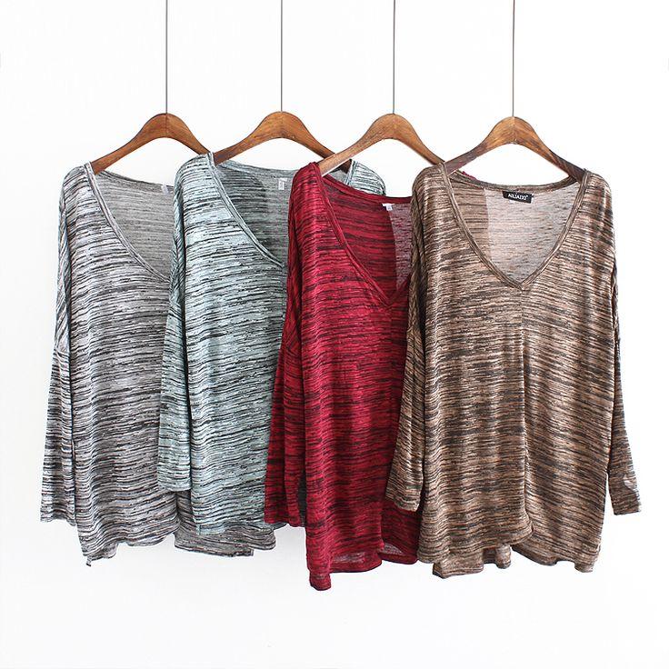 Фактурный трикотажный свитер весной загружен тонкий новый 2017 женские свободные рукав головы дна рубашки Д38-Таобао