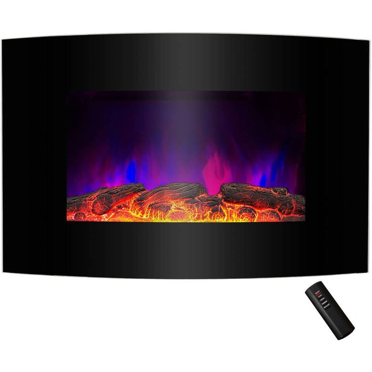 Wall Mount Electric Fireplace Heater Tempered Glass LED Curved Remote Control #ElectricFireplaces