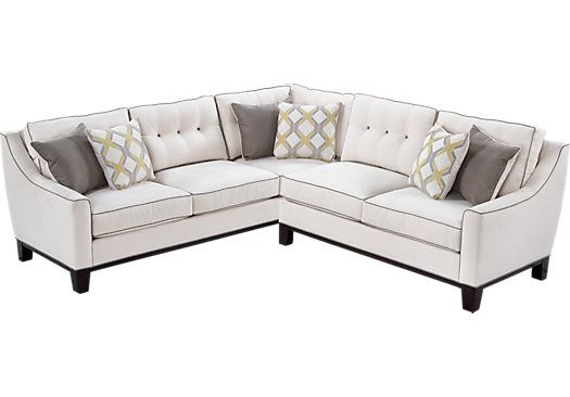 Shop for a Cindy Crawford Home State Street 2 Pc Vanilla Sectional at Rooms To Go. Find Sectionals that will look great in your home and complement the rest of your furniture. #iSofa #roomstogo