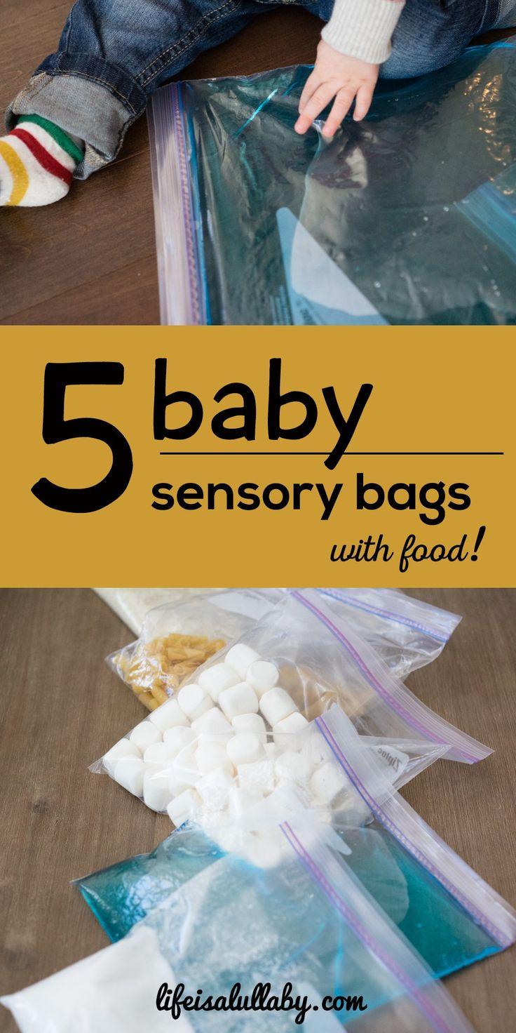 5 baby sensory bags with food