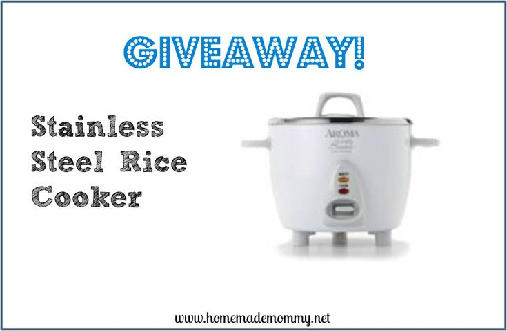 This week's reader's choice giveaway is a Stainless Steel Rice Cooker! Confession: I have never mastered the art of cooking rice in a pot on my stove and I would be lost without a rice cooker! via Homemade Mommy