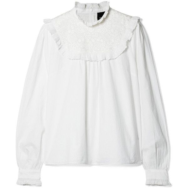 Needle & Thread Broderie anglaise cotton-poplin blouse (€155) ❤ liked on Polyvore featuring tops, blouses, white ruffle top, flounce blouse, white frill blouse, victorian blouses and flutter blouse