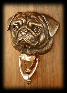 Pug door knocker. Wrinkly pug face looks like a fun thing to sculpt