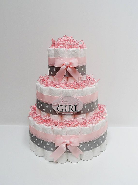 Baby Girl Pink And Gray Diaper Cake Baby Shower Centerpiece on Etsy, $49.99
