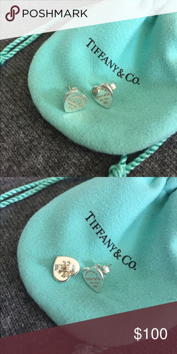 Return To Tiffany Heart Tag Earrings Sterling Silver Excellent
