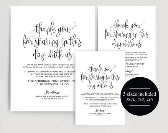In lieu of wedding favors Sign, Wedding Donation Sign, Charity Printable, Thank you donation printable, PDF Instant Download #BPB203_22