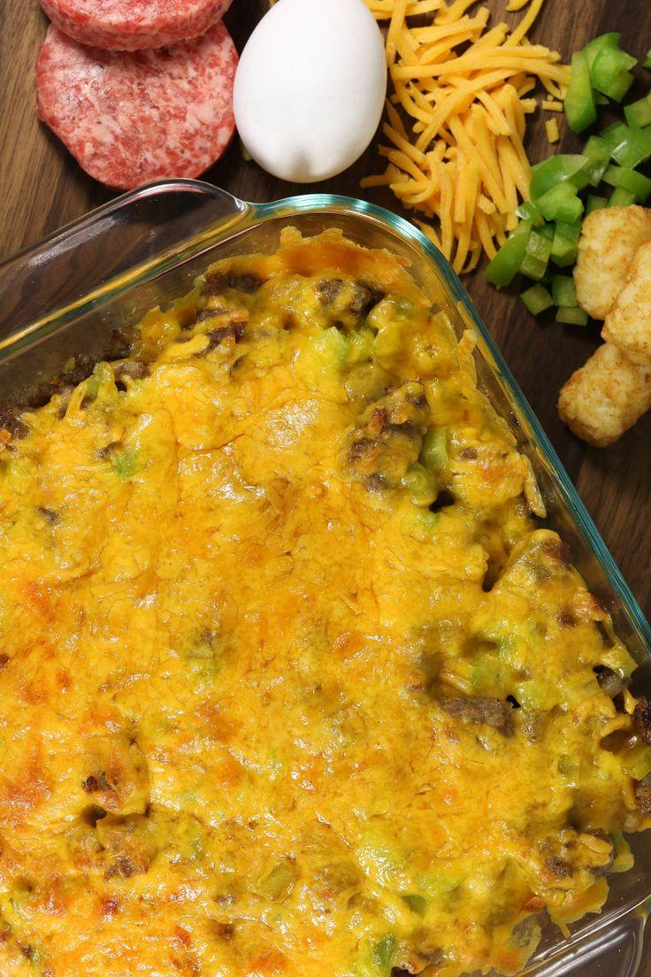 Tater Tot, Sausage, and Egg Breakfast Casserole | AllFreeCasseroleRecipes.com
