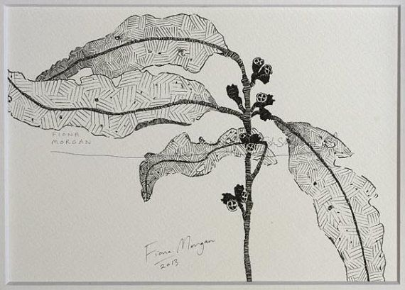 WhereFishSing.com Fiona Morgan, pen drawing 'Meditative Study' #WhereFishSing GUMLEAVES Matted Nature illustration ORIGINAL Botanical Drawing, Black & White, Australian art, pen & ink, zen, mindfulness