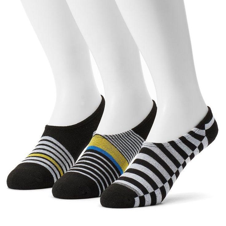 Men's Converse 3-pack Made For Chucks Striped Liner Socks, Size: 10-13, Black