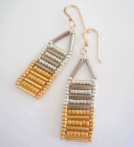 Gold and Silver Bugle Bead Earrings
