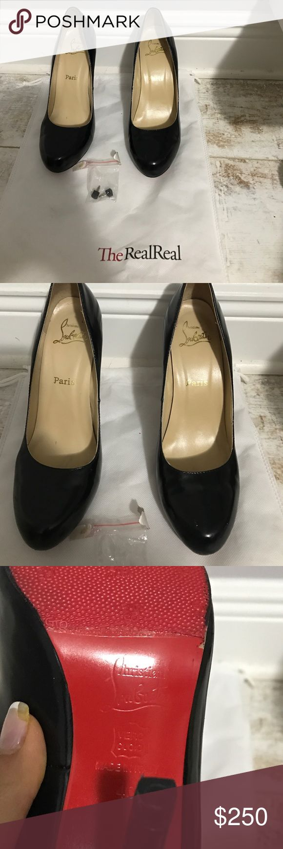 Christian Louboutin Rolando Black Patent Heels 40 Christian Louboutin Rolando Black Patent Heels 40. Soles were resoled with red non slip to preserve the red bottoms. Also had heel covers put on to protect the heels and patent leather. Comes with dust bag, and a set of heel tips. Firm on price. Christian Louboutin Shoes Heels