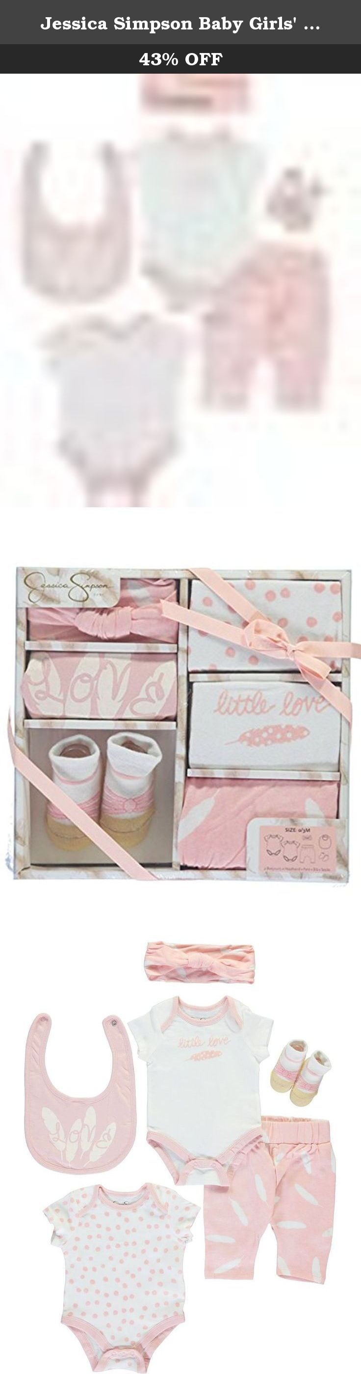"""Jessica Simpson Baby Girls' """"Little Love"""" 6-Piece Layette Gift Set - pink, 0 -. Give a new arrival extra elegance with this boxed gift set from Jessica Simpson! Jessica Simpson 6-piece layette set 2 bodysuits (100% cotton) Headband (100% cotton) Pants (100% cotton) Bib (100% cotton) Socks (70% cotton, 26% polyester, 4% spandex) Machine wash cold, inside out Imported."""