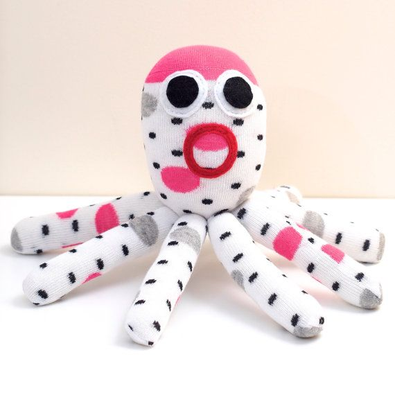 Check out this item in my Etsy shop https://www.etsy.com/listing/230454500/white-spotted-sock-octopus-plush-toy