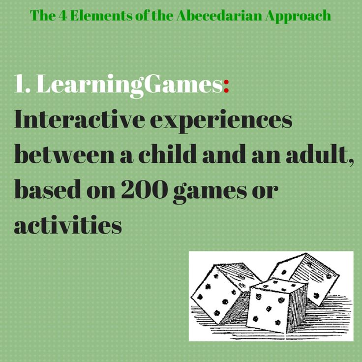 """The first element of the Abecedarian Approach is to engage children with activities and games that help them develop cognitively and stimulate learning. As the Abecedarian approach does not follow a particular curriculum, these games can then be thought as """"bite-size pieces of curriculum"""" (Sparling, 2010)."""