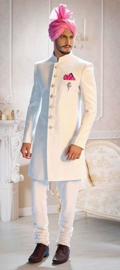 502851 White and Off White color family Sherwani in Linen fabric with Broches work .