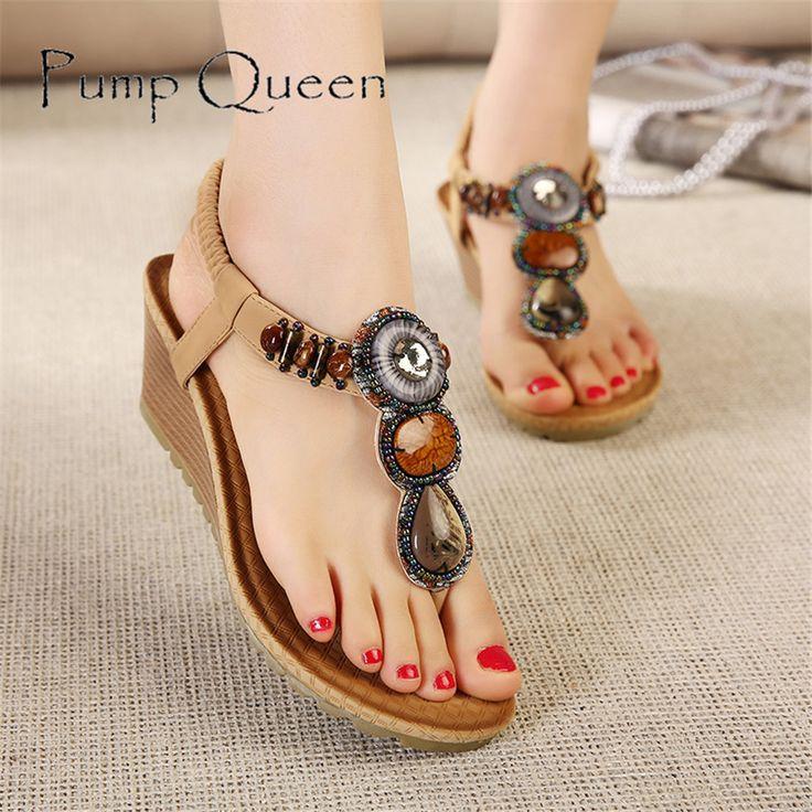 Women Vintage Sandals Beading Wedges Ladies Shoes PU Casual Bohemian Sandal Summer Ladies Flip Flops