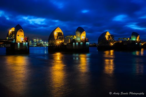 The Thames Barrier at Blue hour
