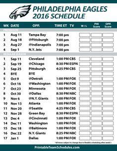 Philadelphia Eagles 2016 Football Schedule. Print Schedule Here - http://printableteamschedules.com/NFL/philadelphiaeaglesschedule.php