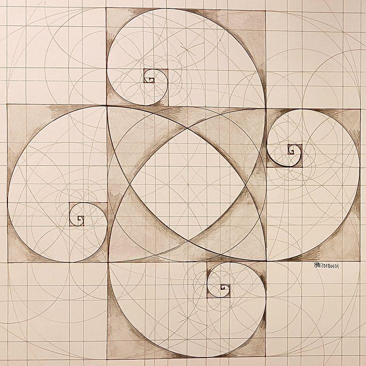 #fractal #geometry #symmetry #handmade #mathart #regolo54 #escher #fractal #fibonacci #goldenratio #1618 #square #rectangle #circle