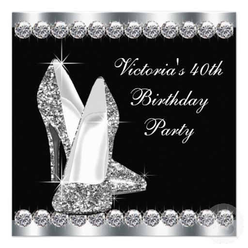 15 best 40th birthday party invitations images on pinterest 40th womans elegant black 40th birthday party invitations solutioingenieria Images