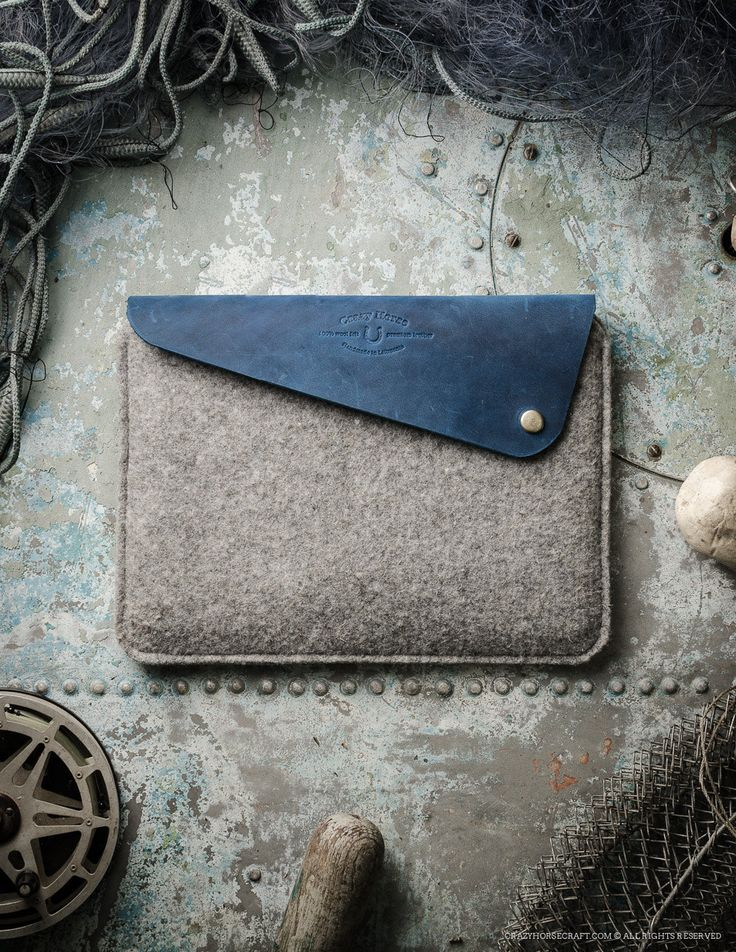 MacBook air 12 inch / pro wool felt leather case / sleeve. Distressed Crazy Horse Leather and wool felt. Ocean blue. Minimalistic (79.00 USD) by CrazyHorseCraftCom