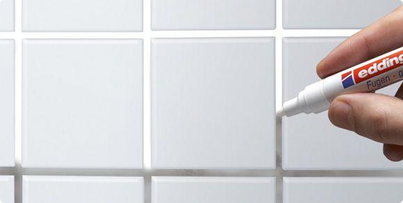 Opfrissen van voegen in badkamer of keuken - edding 8200 voegenmarker