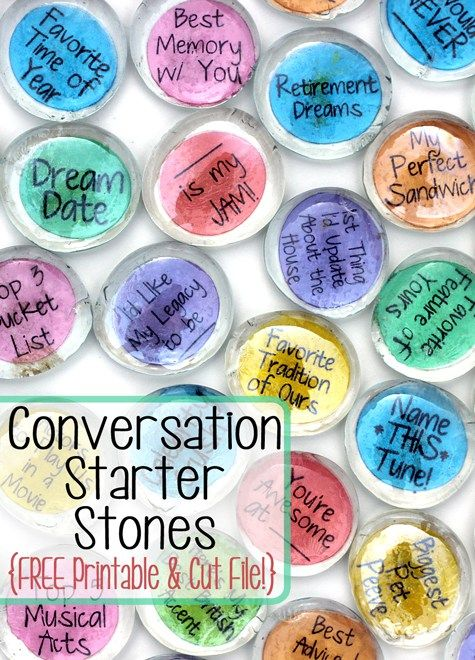 "This is such a neat idea for date night, family game night, schools, teams, or more!  A great ""get to know you better"" activity!  Conversation Starter Stones and Free Printable & Silhouette Cut File! 