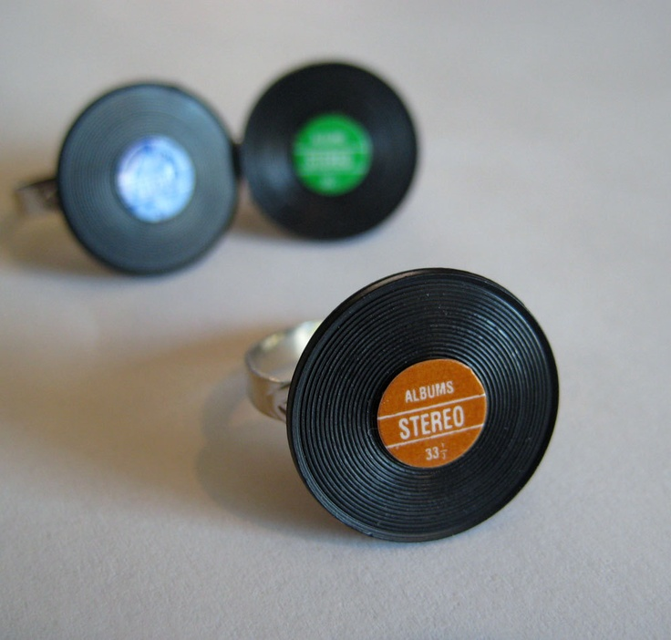 Miniature Vinyl Record Ring You Pick the Color by Artwonders
