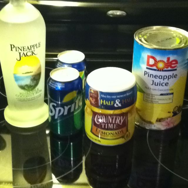Best. Drink. Ever. 1 can pineapple juice (46oz), 1 cup Country Time lemonade mix, 2 cups water, 2 cans Sprite, and Pineapple Coconut Rum