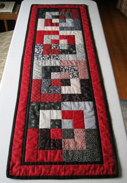 BENTO BOX TABLE RUNNER, RED, BLACK,  WHITE
